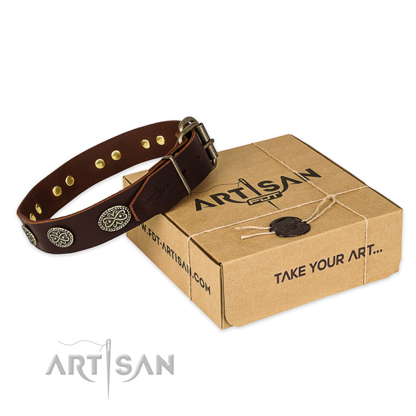 Corrosion resistant D-ring on full grain leather collar for your attractive canine