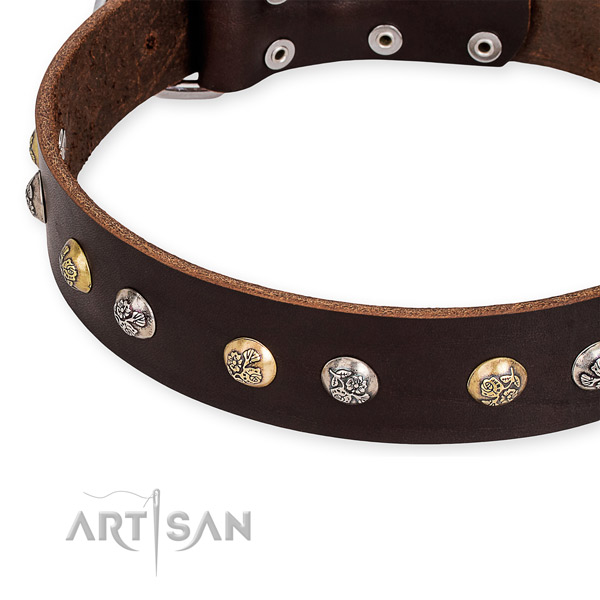 Natural genuine leather dog collar with fashionable durable decorations