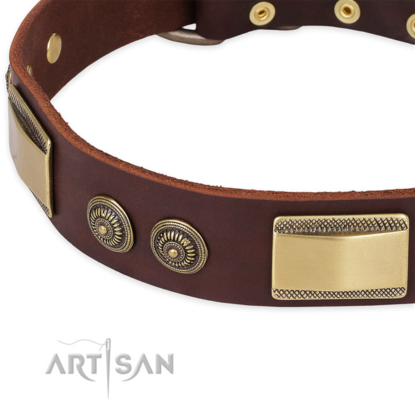 Exquisite full grain genuine leather collar for your beautiful dog
