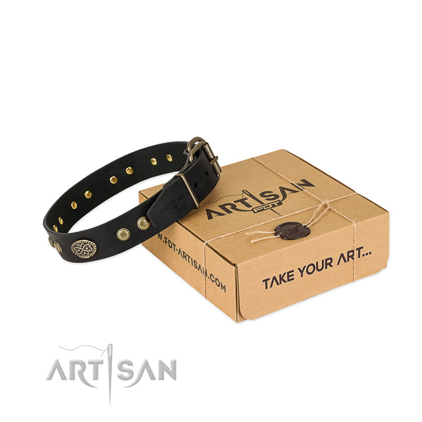 Reliable buckle on leather dog collar for your doggie