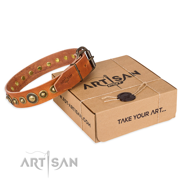 Soft full grain natural leather dog collar handcrafted for handy use