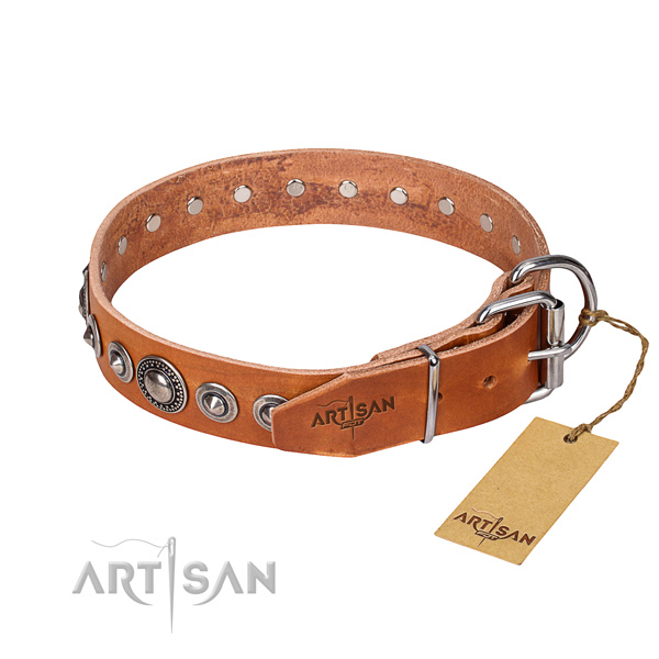 Natural genuine leather dog collar made of high quality material with rust resistant studs