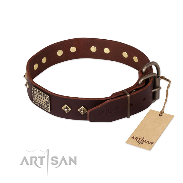 Full grain genuine leather dog collar with durable D-ring and decorations
