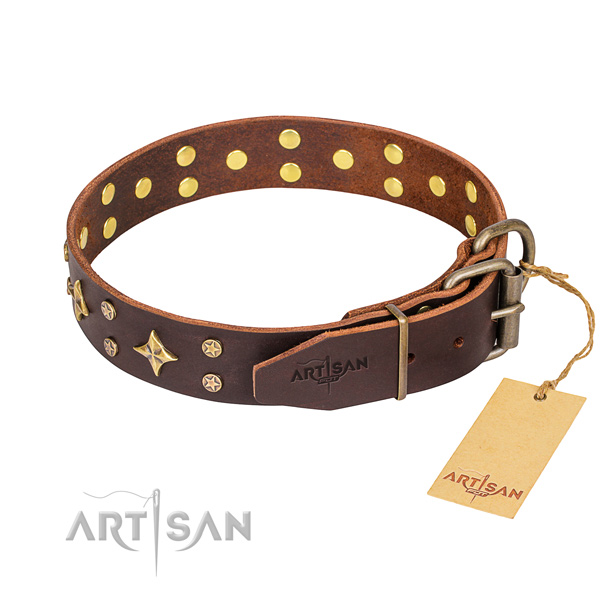 Easy wearing decorated dog collar of fine quality full grain natural leather