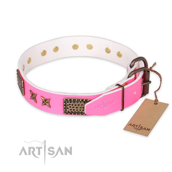 Corrosion proof fittings on natural genuine leather collar for your impressive doggie