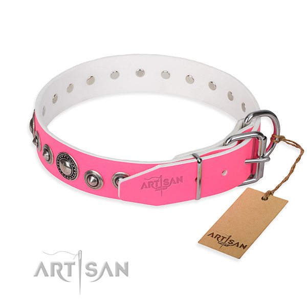 Leather dog collar made of soft material with rust-proof embellishments