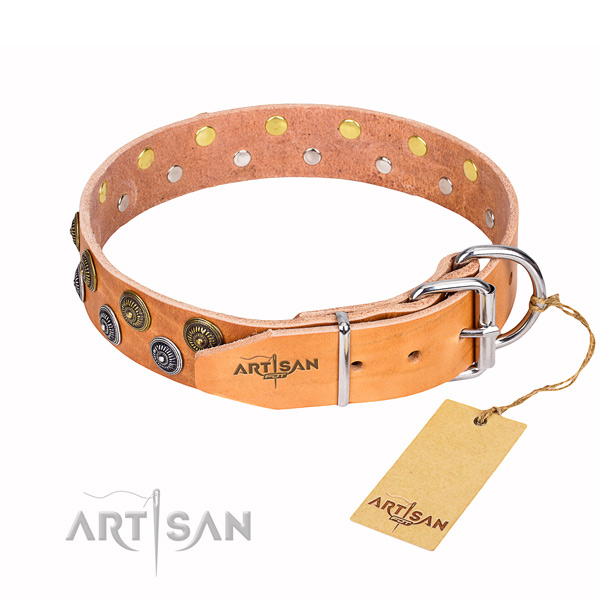 Comfy wearing adorned dog collar of fine quality full grain genuine leather