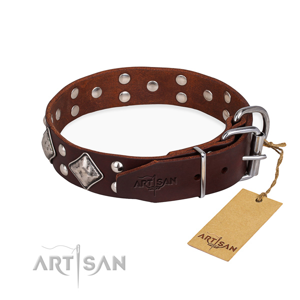 Leather dog collar with trendy corrosion proof decorations