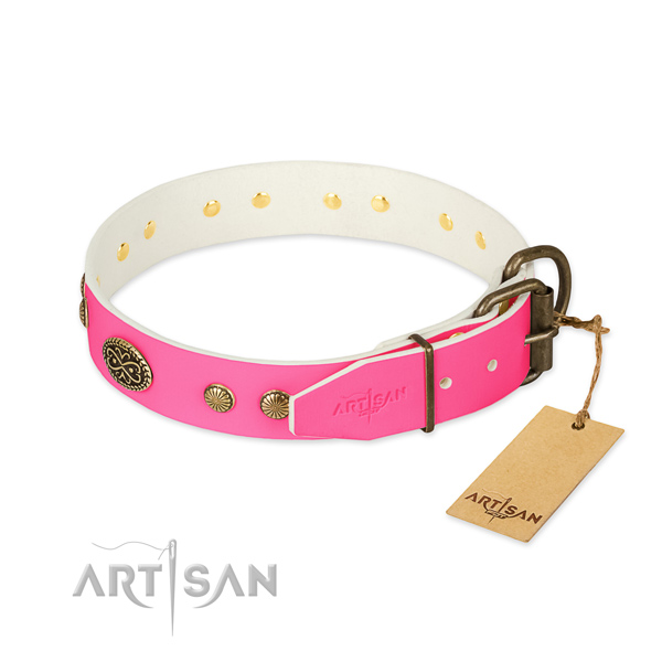 Rust resistant hardware on genuine leather dog collar for your doggie