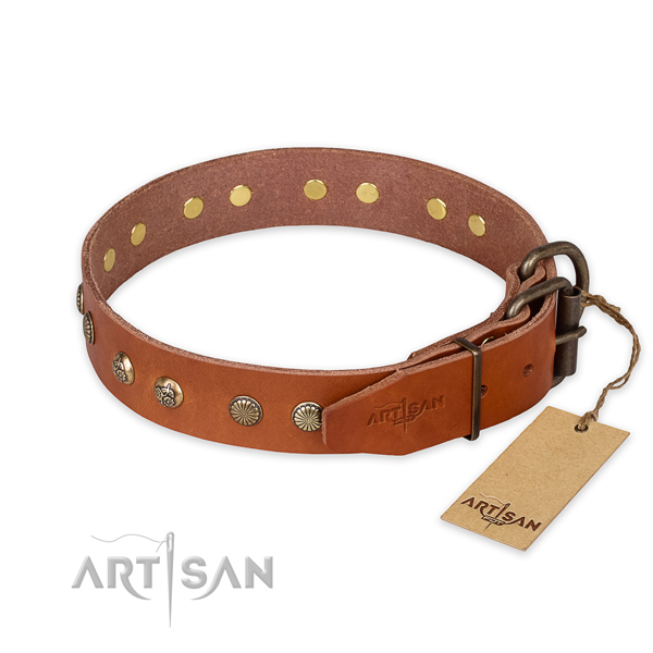 Strong traditional buckle on full grain leather collar for your attractive pet