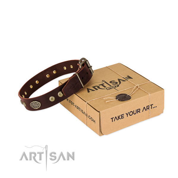 Durable fittings on full grain natural leather dog collar for your dog