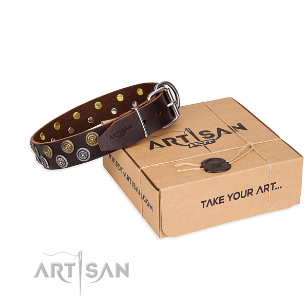 Easy wearing dog collar of best quality full grain genuine leather with adornments