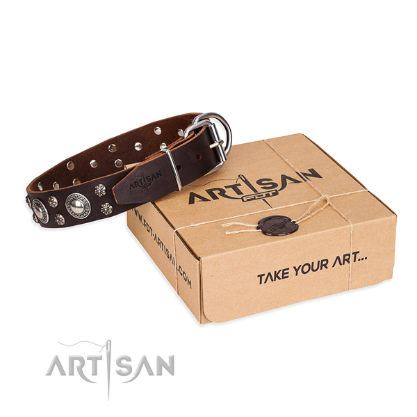 Daily use dog collar of best quality natural leather with adornments