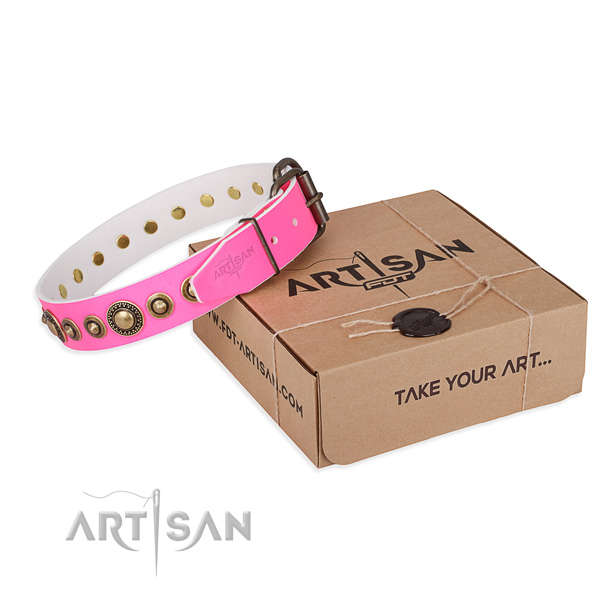 High quality full grain natural leather dog collar handcrafted for handy use