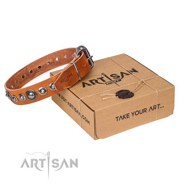 Full grain genuine leather dog collar made of high quality material with strong buckle
