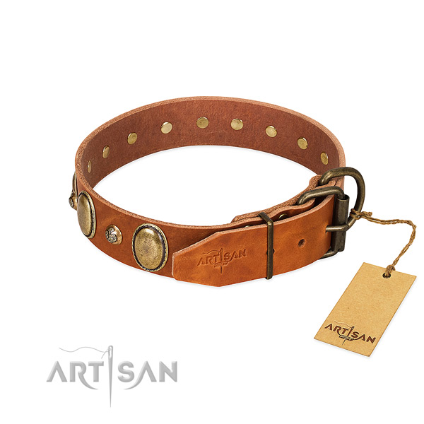 Comfy wearing full grain genuine leather dog collar