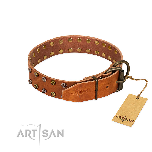 Daily walking natural leather dog collar with unusual decorations