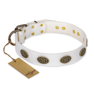 """Lovely Lace"" FDT Artisan White Leather Collie Collar with Old Bronze Look Ovals"