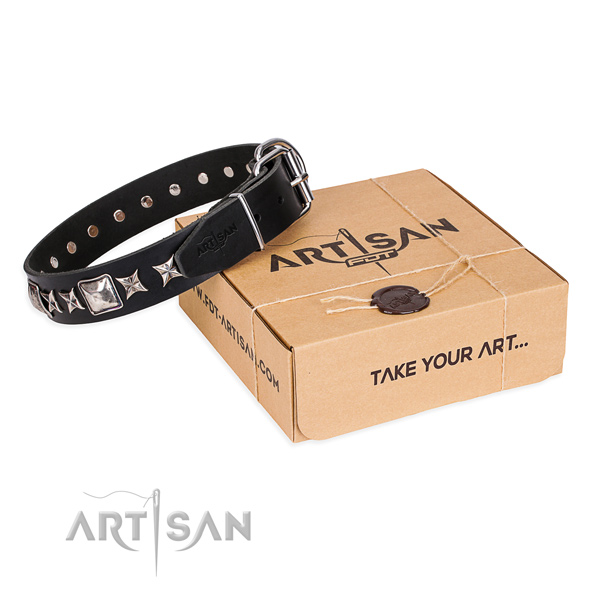 Everyday use dog collar of finest quality genuine leather with decorations