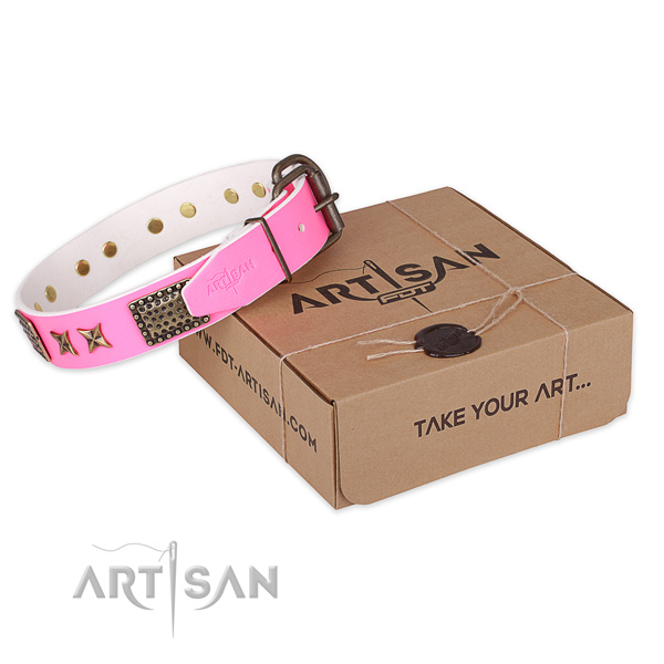 Strong hardware on full grain natural leather collar for your beautiful doggie