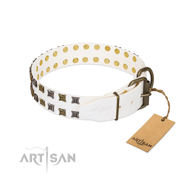 Full grain genuine leather collar with stylish decorations for your pet