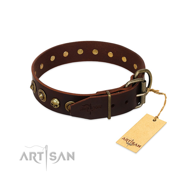 Natural leather collar with remarkable embellishments for your doggie