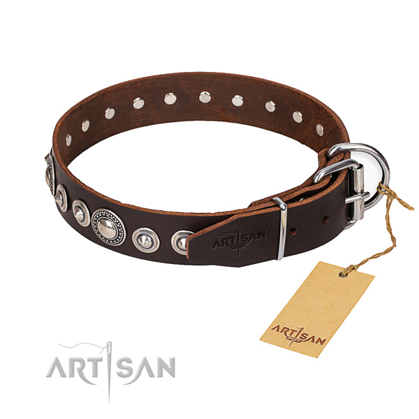 Full grain genuine leather dog collar made of flexible material with rust resistant fittings