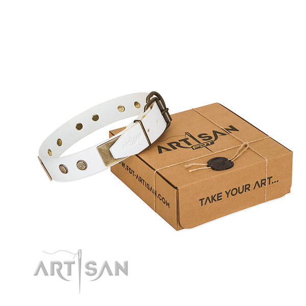 Durable adornments on dog collar for comfy wearing
