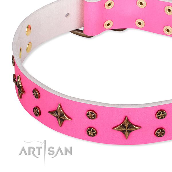 Daily use embellished dog collar of strong genuine leather