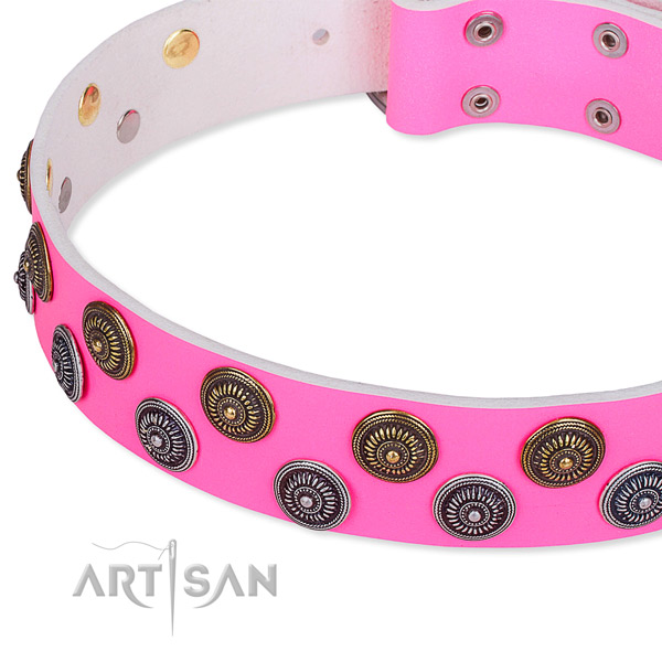Basic training adorned dog collar of top quality leather