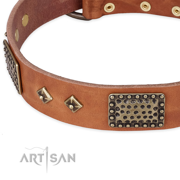 Rust-proof D-ring on full grain natural leather dog collar for your four-legged friend