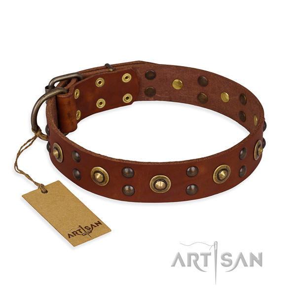 Extraordinary full grain leather dog collar with strong D-ring