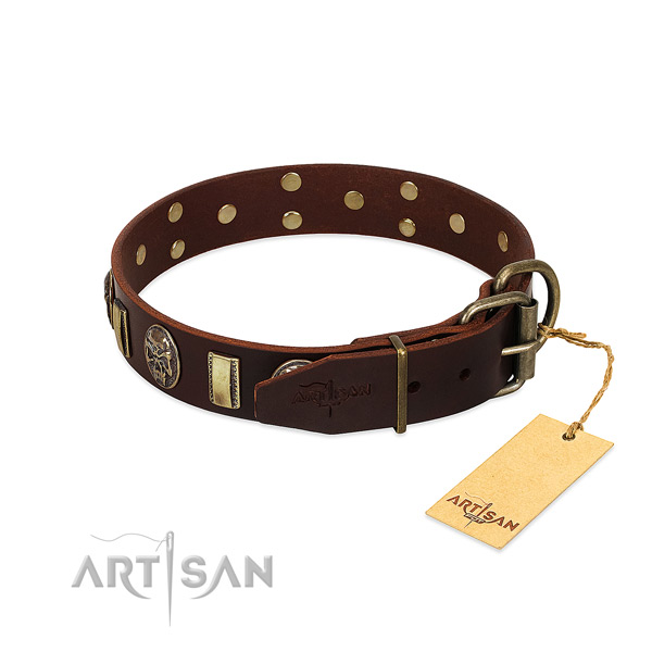 Natural genuine leather dog collar with reliable hardware and studs