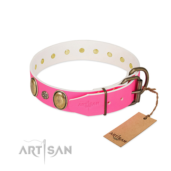 Reliable full grain genuine leather dog collar with decorations