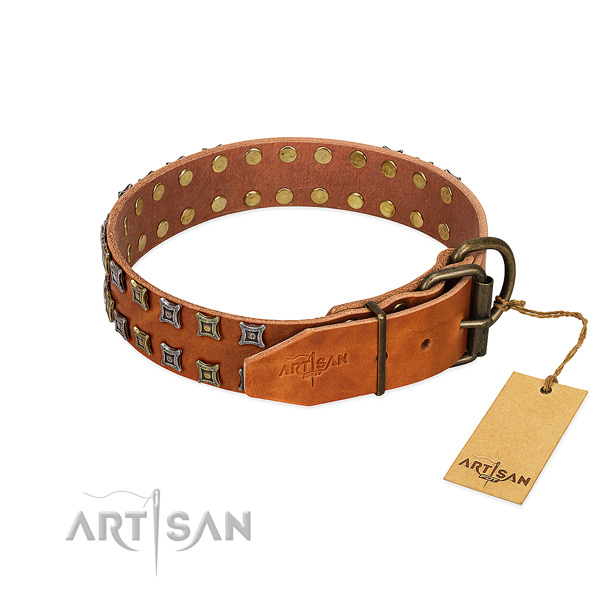 Top rate full grain genuine leather dog collar created for your pet