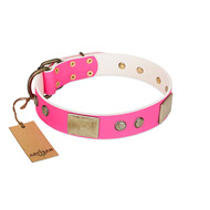 """Flower Parade"" FDT Artisan Pink Leather Collie Collar with Plates and Studs"