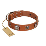 """Amorous Escapade"" Embellished FDT Artisan Tan Leather Collie Collar with Chrome Plated Crossbones and Plates"