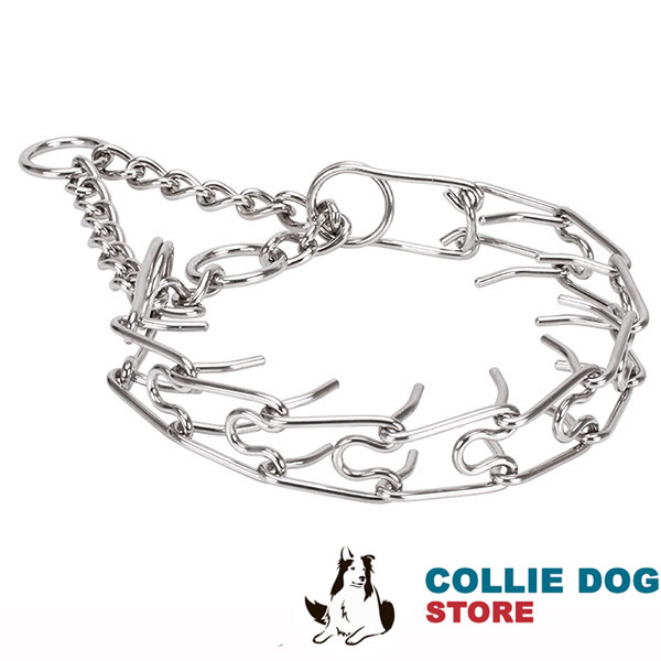 Durable rust proof dog pinch collar with stainless steel removable prongs