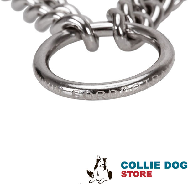 Adjustable prong collar with reliable O-ring of stainless steel for leash attachment