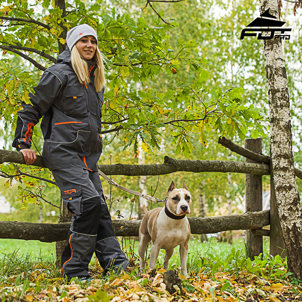 Professional Orange Logo on Men and Women Design Pants for Active Dog Training