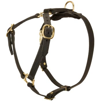 Leather Collie Harness Light Weight Y-Shaped for Tracking Dog