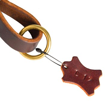 Leather Pull Tab for Collie with O-ring for Leash Attachment