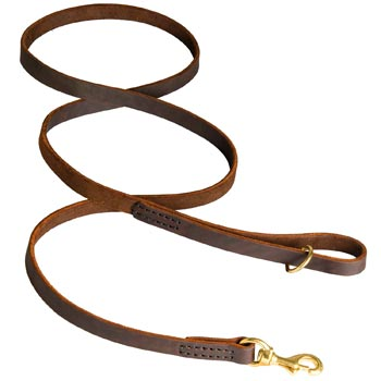 Classic Stitched Leather Collie Leash